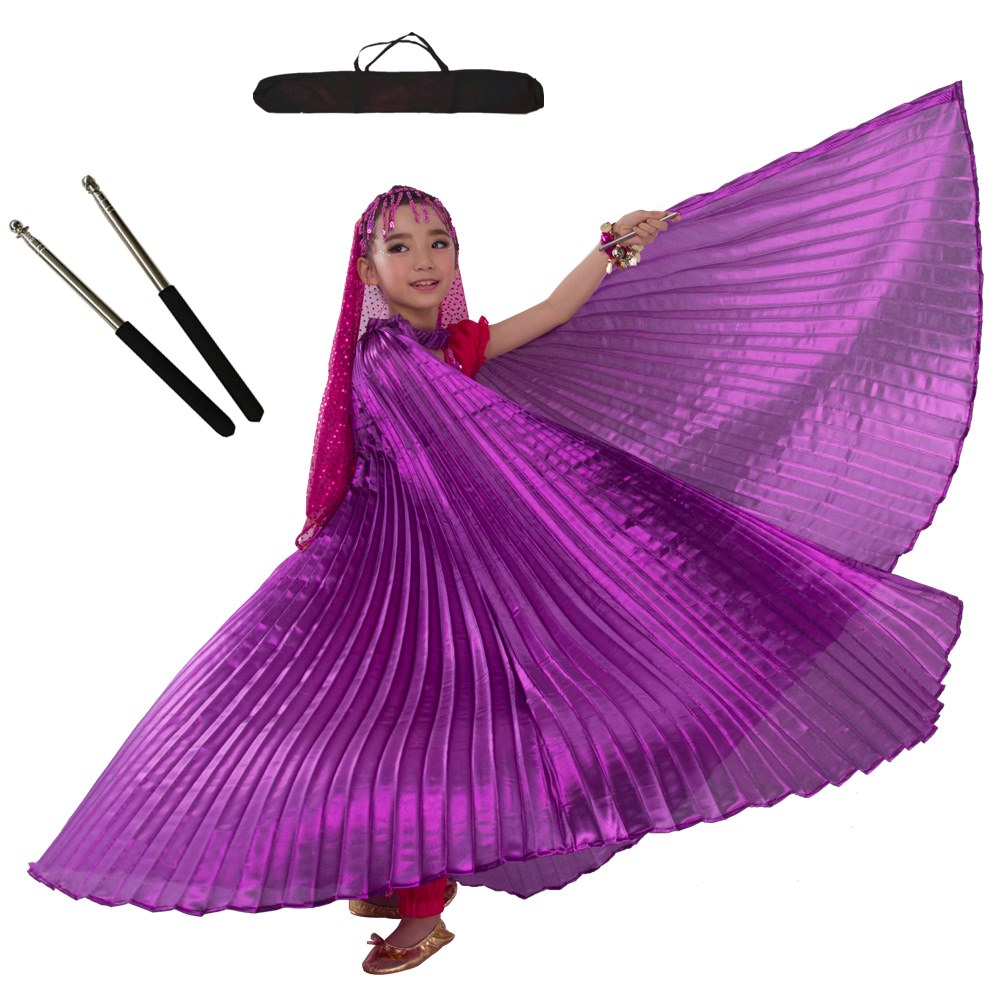 Bellydance Wings Sticks Bag 11 Colors Belly Dancing Costumes Belly Dance Egypt Isis Wings For Children Girls Kids Gold Black