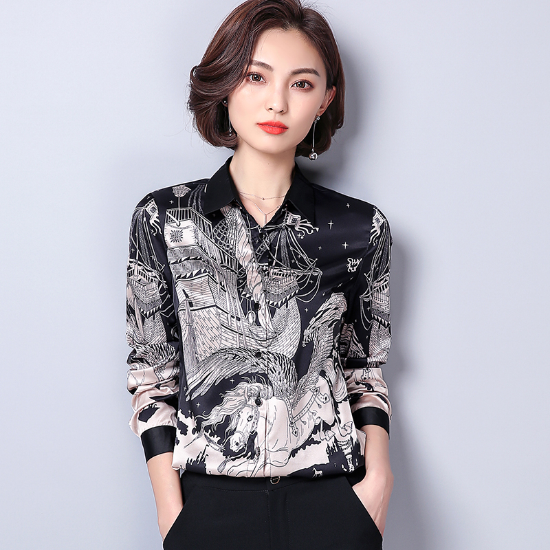 Debowa Silk Print Shirt Women Tops 2018 Spring New Women Blouses Full Sleeve Bodycon Casual Blouse