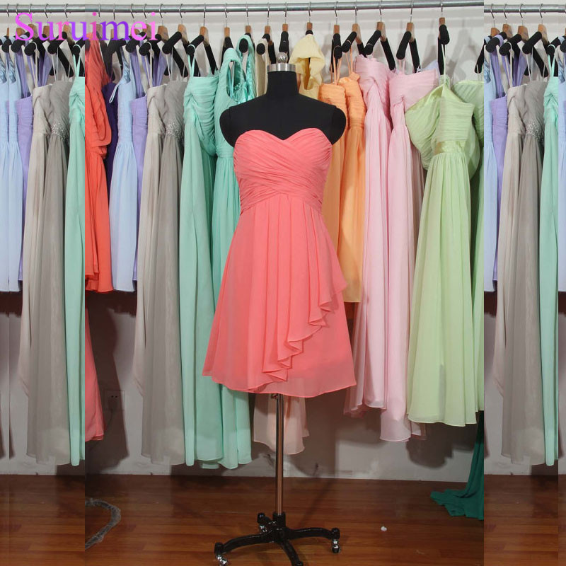 Coral   Bridesmaid     Dresses   Short Chiffon Knee Length Sweetheart Wedding Party Maid Of Honor Free Shipping