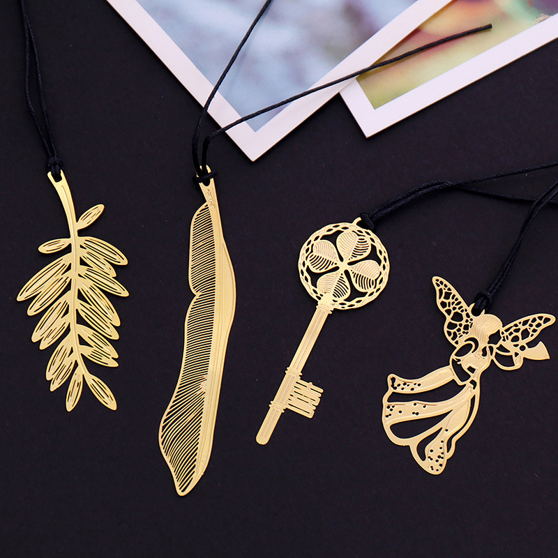 1 PCS Cartoon Art Exquisite Series Metal Bookmarks Gold Plated Bookmark Key Feather Angel Stationery Office School Supplies