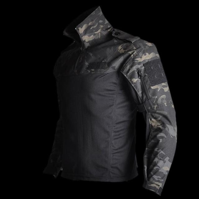 Mege טקטי צבאי ציוד לחימה חולצה הסוואה מרובה שחור גברים נשים חולצה טקטית Airsoft CS ללכת בגדי טיפון