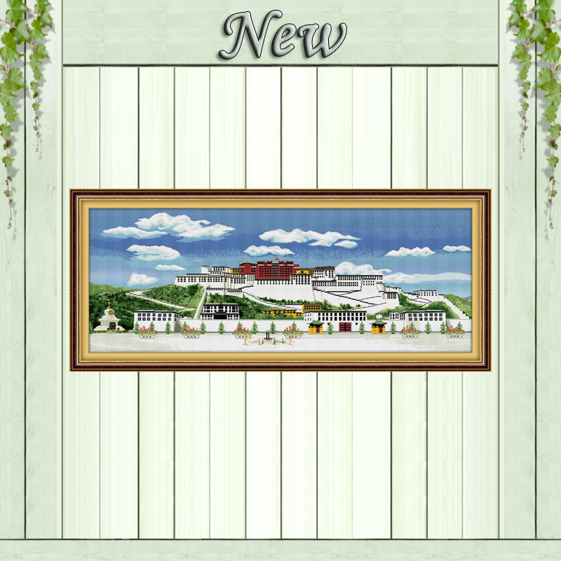 The Potala Palace scenery paintings counted printed on canvas DMC 14CT 11CT chinese Cross Stitch Needlework Sets Embroidery kitsThe Potala Palace scenery paintings counted printed on canvas DMC 14CT 11CT chinese Cross Stitch Needlework Sets Embroidery kits