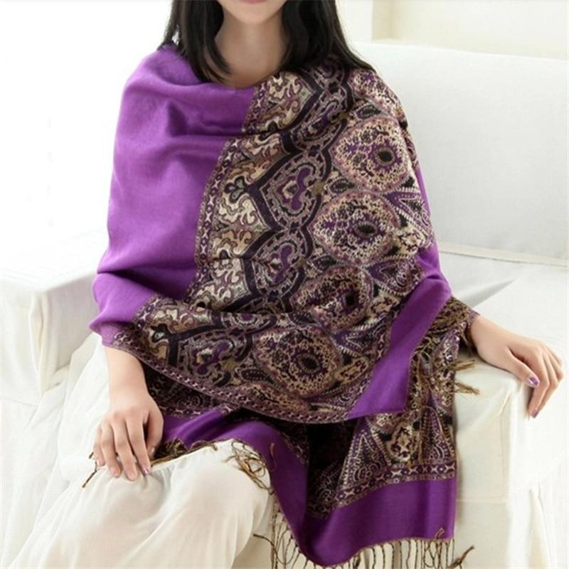 Autumn Winter Brand New Fashion Bohimian National Jacquard 190*70cm Long Large Warm Women   Scarf     Wrap   Shawl Pashmina Gift
