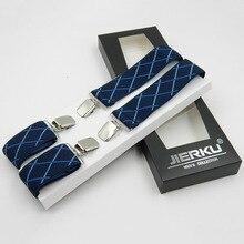 3.5cm Width Men Suspenders Adjustable Clip-On Belt Business Men Pants Jacquard Braces X-Shape Supports Elastic Suspenders