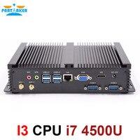 Мини компьютер без вентилятора мини ПК Windows 10 Core i7 4500U 2 * RS232 промышленный ПК Прочный ПК 4K Ультра HD дисплей