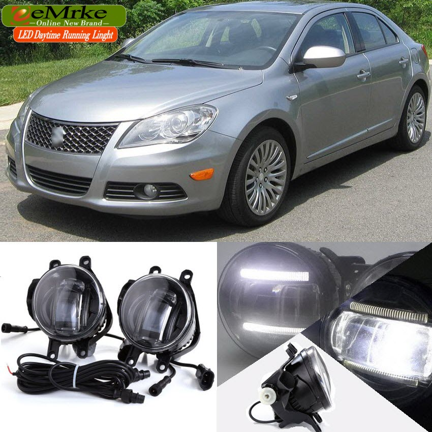 eeMrke Car Styling DRL 2in1 Brighter LED Fog Light Lamp With Q5 Lens Daytime Running Lights For Suzuki kizashi 2011-2014 for opel astra h gtc 2005 15 h11 wiring harness sockets wire connector switch 2 fog lights drl front bumper 5d lens led lamp