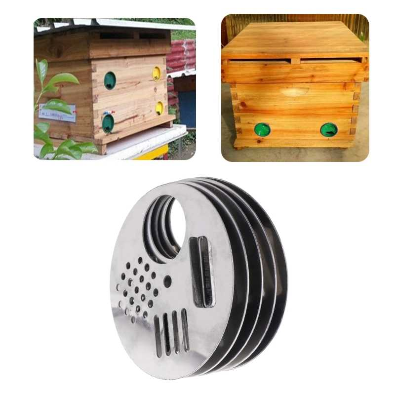 5Pcs Bee Box Door Cage Stainless Steel Round Hive Hole Beekeeping Nest Equipment