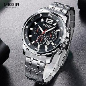 Image 3 - Megir 남성용 크로노 그래프 쿼츠 시계 남성용 스테인레스 스틸 아날로그 손목 시계 24 시간 디스플레이 방수 루미 너스