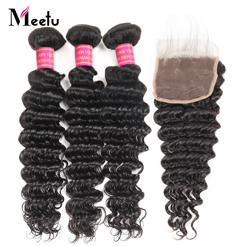 Meetu Brazilian Deep Wave Bundles with Closure 3 Bundles with Closure Non Remy Brazilian Human Hair Weave Bundles With Closure