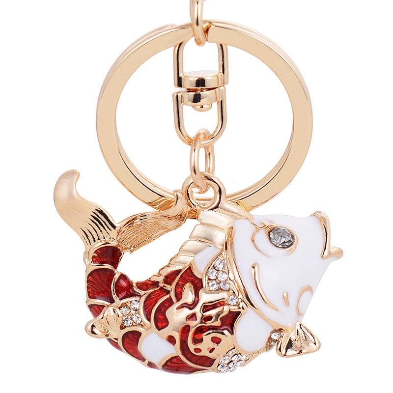 Chinese style crystal carp car key chain girls bag pendant accessory wholesale & retail rhinestone fish key holder free shipping