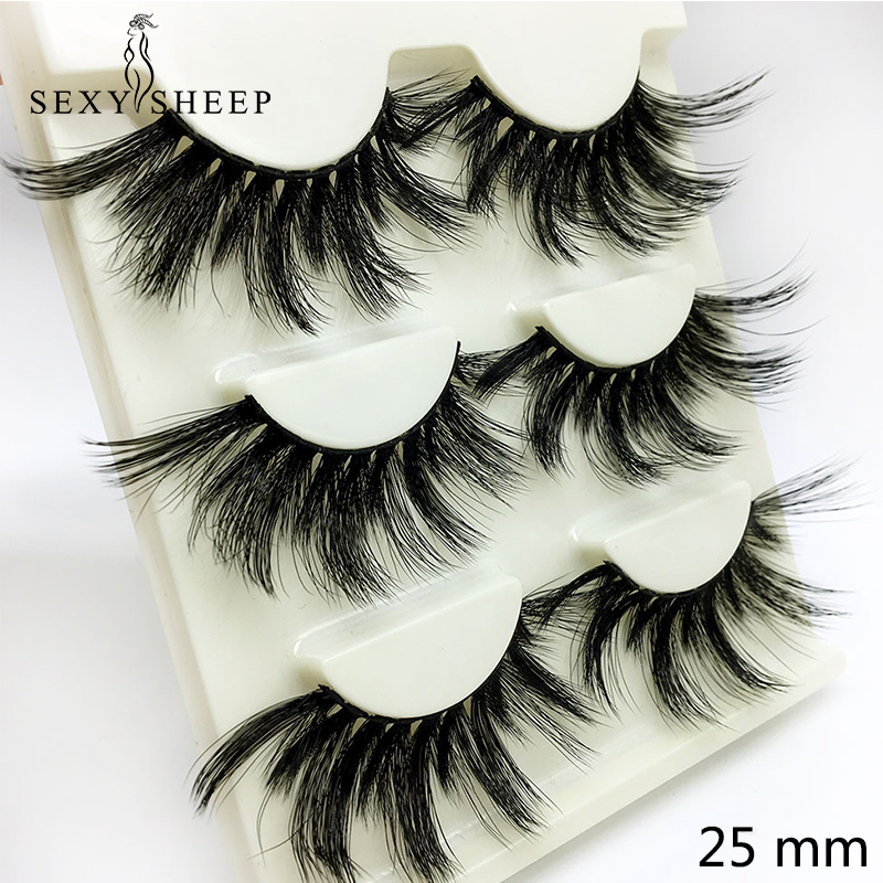 SEXYSHEEP 3pairs 25mm 3D False Eyelashes Fake Lashes Long Makeup 3D Mink Lashes Eyelash Extension Mink Eyelashes Beauty Makeup