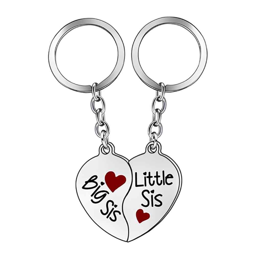 2Pcs/Set Creative Heart Matching Key Ring Keychain Best Sister Jewelry Gift key chain