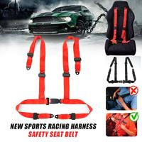 2pcs Universal Vehicle Racing 4 Point Auto Car Safety Seat Belt Buckle Harness Sports Racing Harness Safety Seatbelts