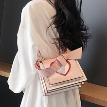 ETAILL Sweet Pink Red Heart Bow Shoulder Bag with Wide Strap Elegant Fashion Pu Leather Womens Casual Crossbody Messenger