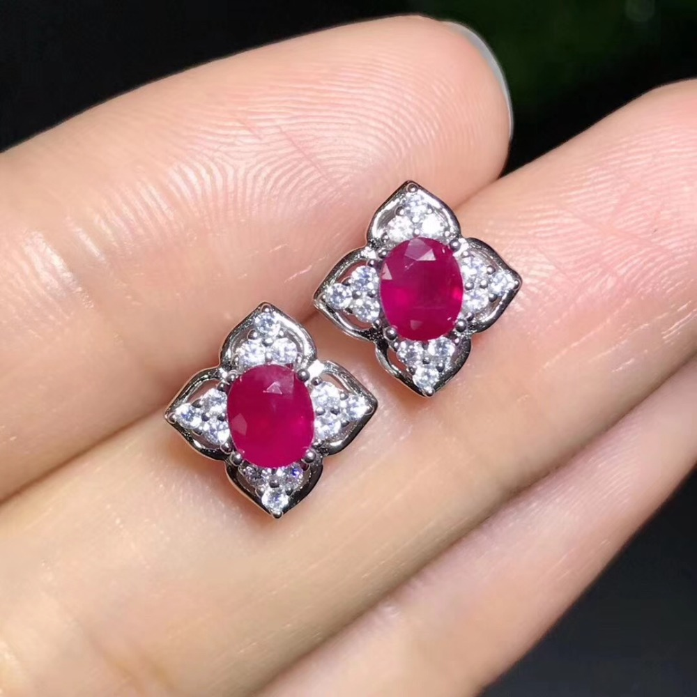 все цены на Natural ruby stud earring Free shipping Original real ruby 925 sterling silver 4*5mm*2pcs gemstone For men or women онлайн