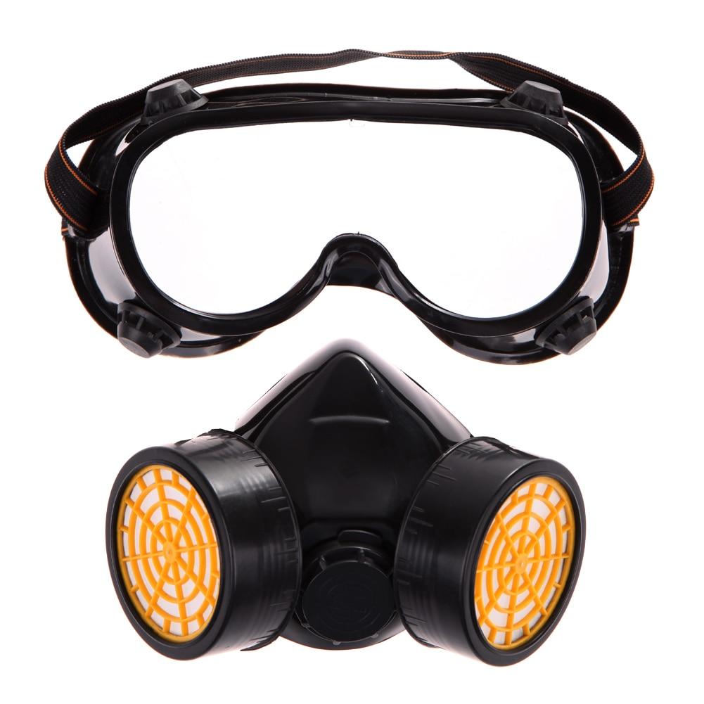 fb185e36efe48 Qualificado De Gás Duplo Filtro Anti Poeira Pinte Respirador Químico  Máscara Eyeshade Óculos Protetor De Emergência De Segurança Industrial