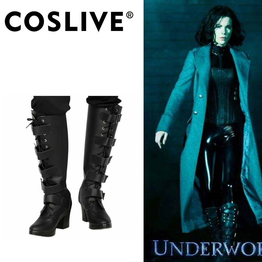 Coslive Selene Boots Underworld: Blood Wars COSplay Womens PU Shoes Zip Up Costume Accessories For Women Adult