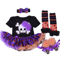 Body for Newborns Halloween Costume Girls Pumpkin Tutu Romper Dress+Shoes+Headband+sock Bebe Infant 4pcs Outfit Party/Vestidos