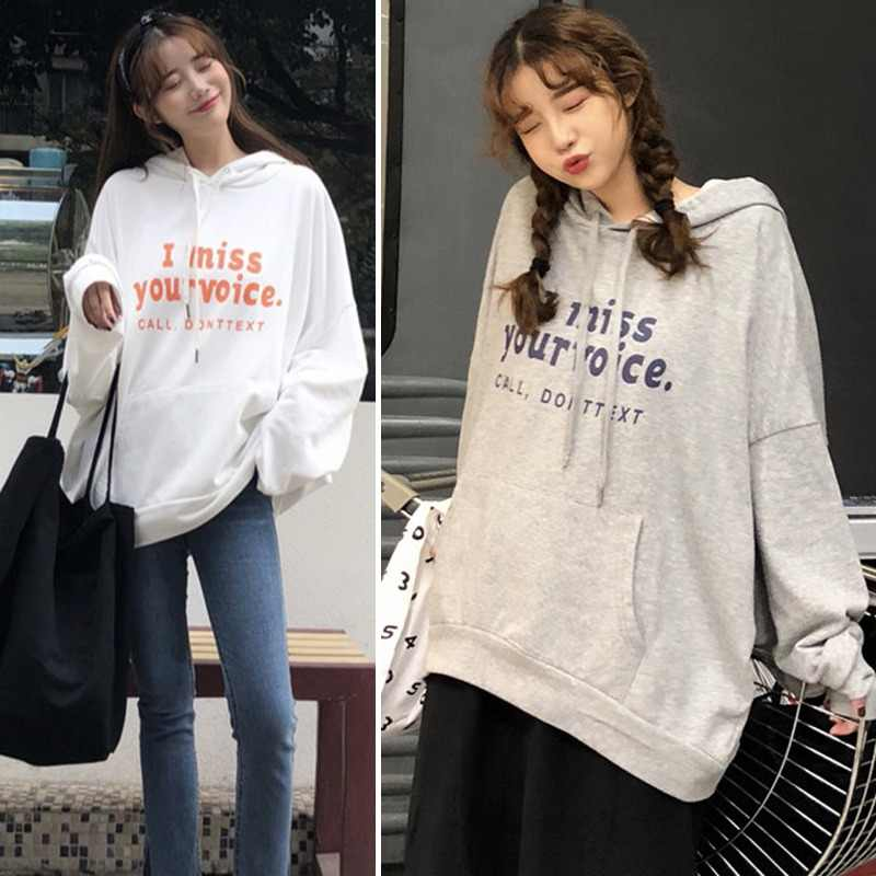 Women's Pullover Casual Letter Print Long Sleeve Pocket Ladies Hoodie Hooded Sweatshirts Clothes