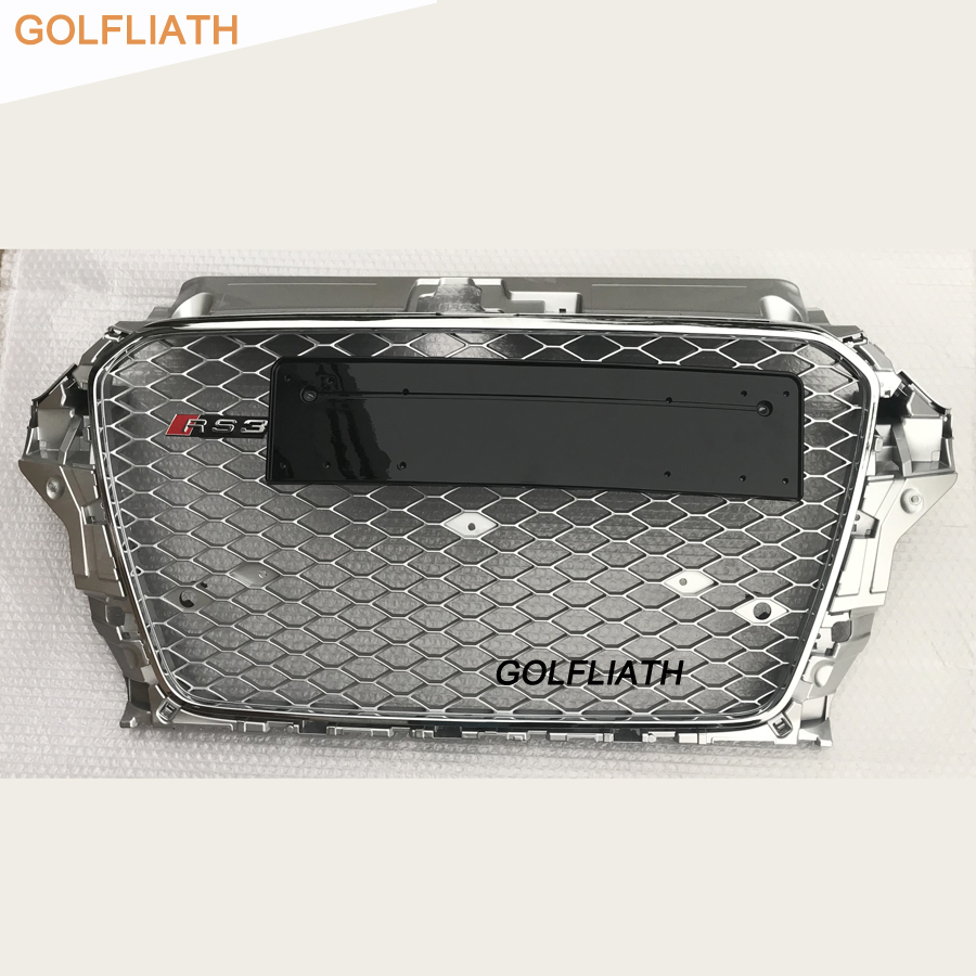 GOLFLIATH full silver A3 RS3 style car grille auto front bumper mesh honey grill for Audi A3 S3 RS3 2013-2015