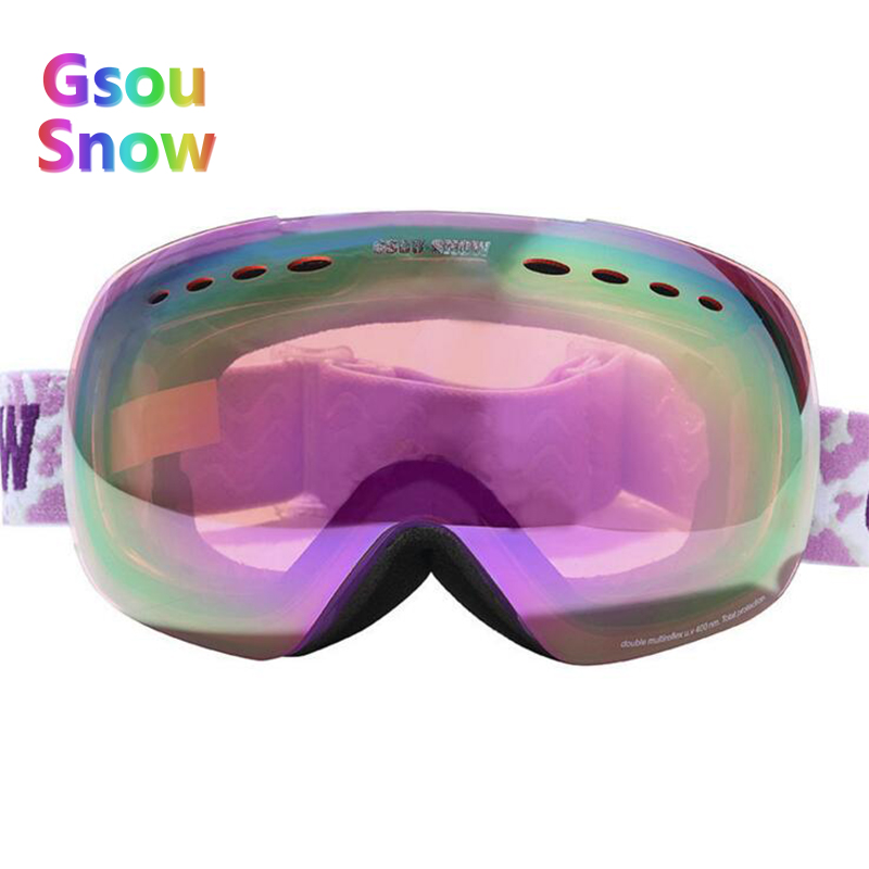 Gsou Snow Winter Skiing Glasses Women's Ski Skiing Eyewear UV400 Anti-Fog Snowboarding Goggles For Men + Box Case