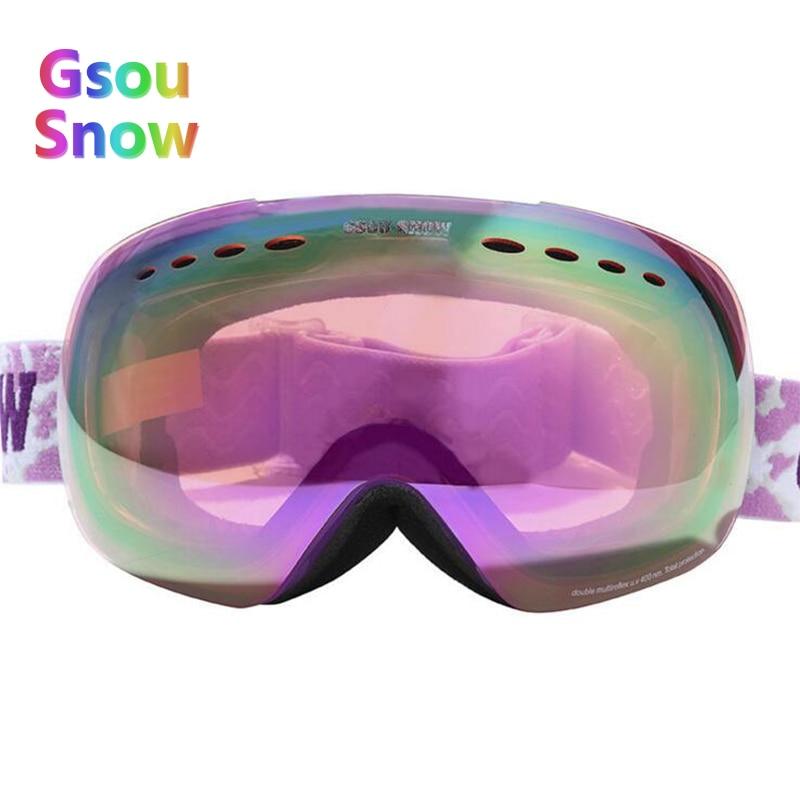 Gsou Snow Winter Skiing Glasses Women's Ski Skiing Eyewear UV400 Anti-Fog Snowboarding Goggles For Men + Box Case