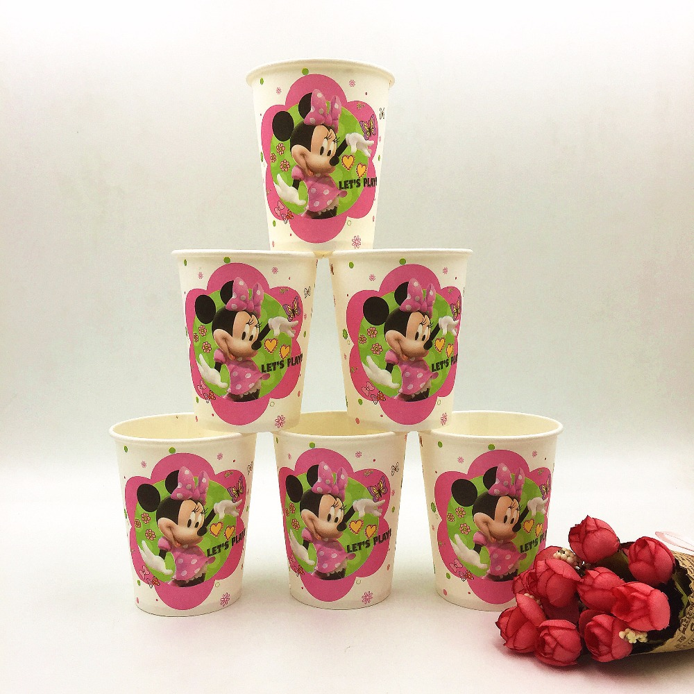 HOT! 10pcs/lot Minnie Mouse Party Supplies Paperboard Cup kids Birthday Decoration Baby Shower For Kids Girls