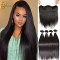 8A Brazilian Virgin Hair Straight with Closure 3/4 Bundles Deals Straight Human Weave Hair Bundles With Lace Frontal Closures