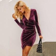 1c7fe7d2116f5bd Весенне-осеннее женское модное платье из бархата с v-образным вырезом и  длинным рукавом