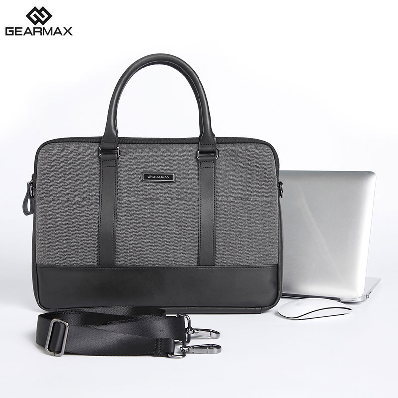 GEARMAX GENUINE LEATHER Laptop Briefcase 13 14 15 Inch+Free Keyboard Cover for MacBook 13 15 Mens Bag for MacBook Pro 15.4 Inch