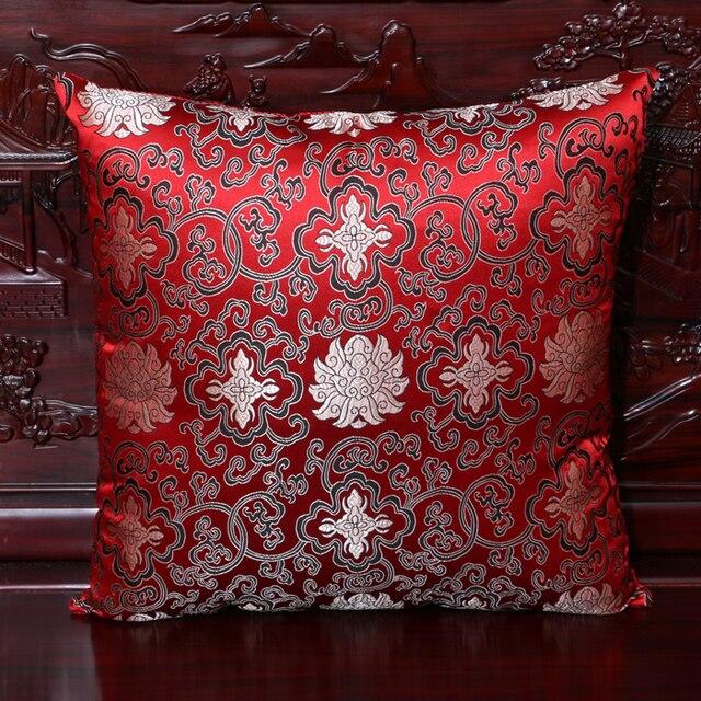 2d5fdfab2 Flower Car Chair Cushion Cover 40x40cm 45x45cm 50*50 60*60 Chinese Colorful  Sofa Pillow Covers Decorative Silk Satin Pillowcase