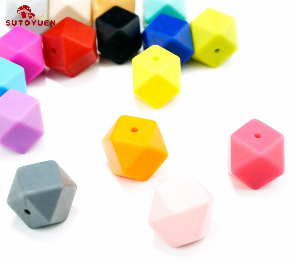 20szt 17mm BPA Free Hexagon Silicone Beads for Teether Silikonowy - Opieka nad dzieckiem - Zdjęcie 5