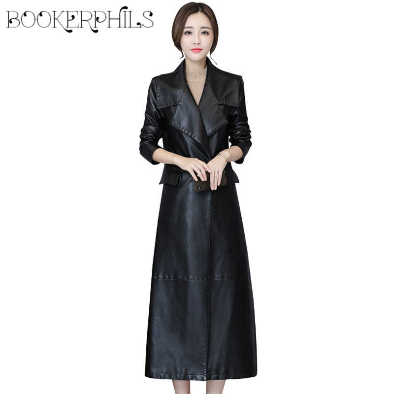Fashion X-Long Leather Jacket Women Black Plus Size 5XL Big Turn-down Collar Slim Soft Pu Leather Trench Coat Female Overcoats