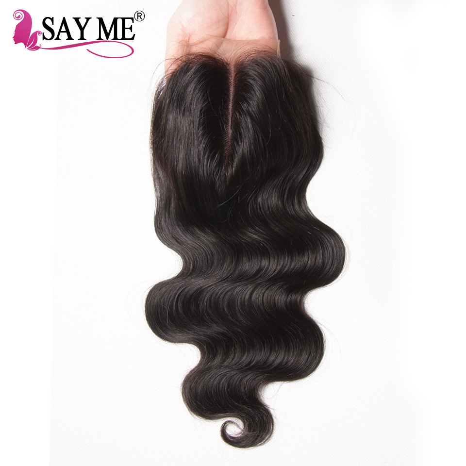 Brazilian Body Wave Closure Human Hair Weave Remy Hair Middle Part 4x4 Lace Closure With Baby Hair 1 Piece SAYME Nature Color