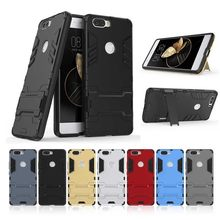 Tsimak Anti Shock Proof Phone Case For ZTE Nubia Z17 Lite Axon 7 Mini Z17s V18 Minis PC+Silicone Iron Man stand Cover(China)