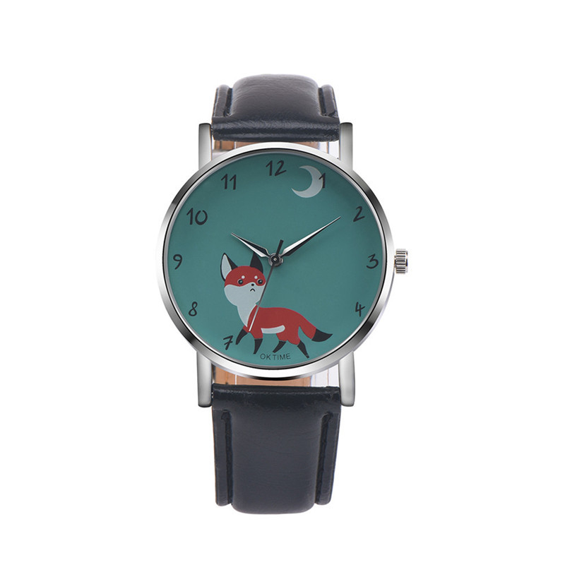 OKTIME Brand Fashion Women Casual Watches Fox Pattern wristwatch for Women Quartz cartoon watch clock hours relojes Mujer gift  brand new fashion watches women casual cat pattern wristwatch for girl quartz cartoon watch saat hours relojes gift ladies watch