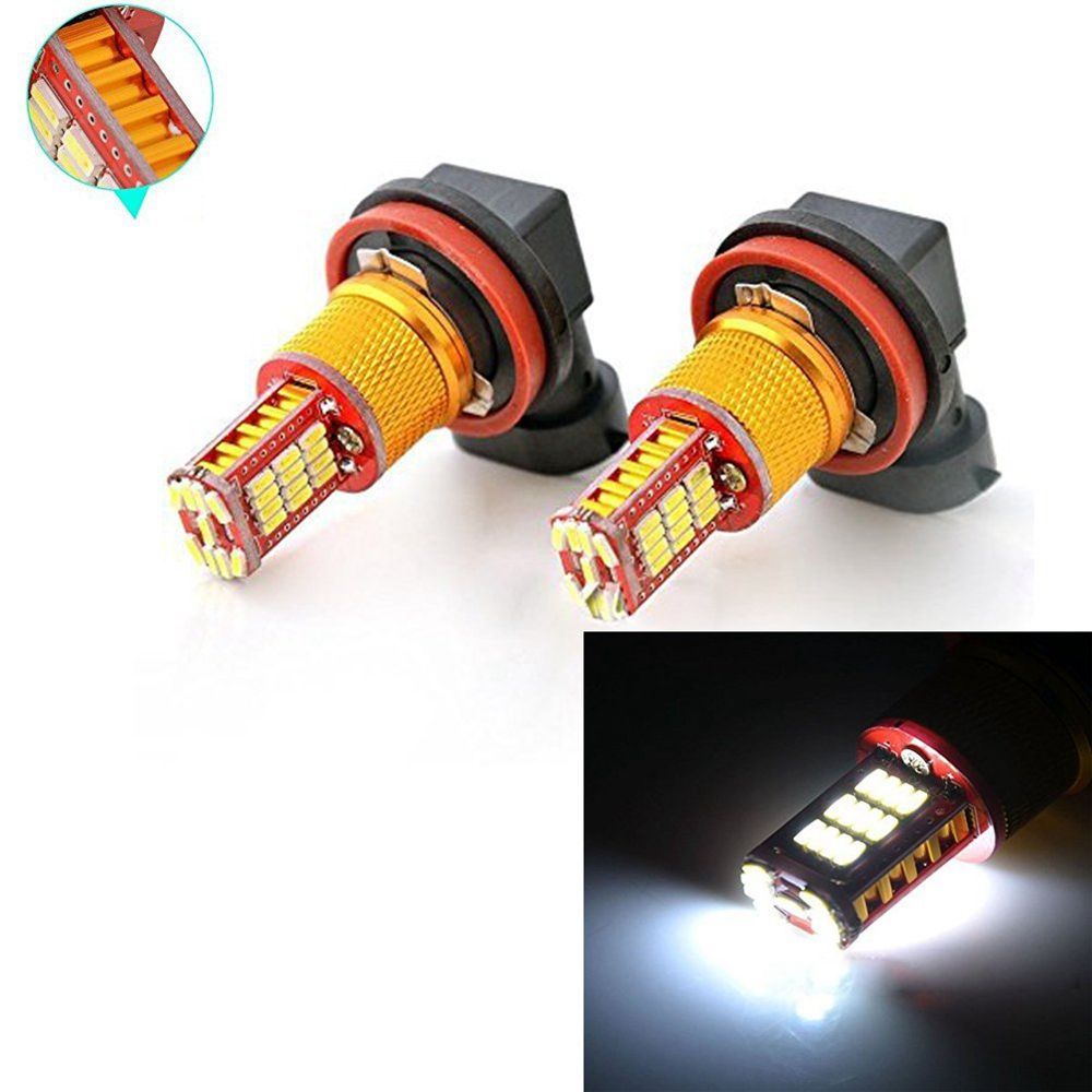 2x H8 H9 H11 LED Xenon White 33-SMD Replacement Bulbs Fog Lights DRL Super Bright H11 LED Light Fog Lamps 2pcs high power super bright 6000k xenon white cree xb d h8 h11 led replacement bulbs for fog light driving lamps
