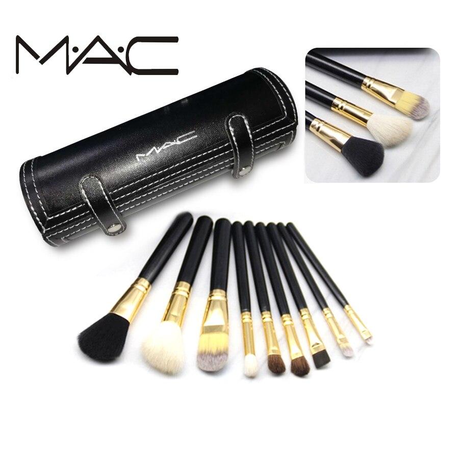 MAC 9 pcs 2018 Makeup Set Powder Foundation Eye shadow Make Up Tools Cosmetics Soft Synthetic Hair With PU Leather Case 10 pcs soft synthetic hair make up sets