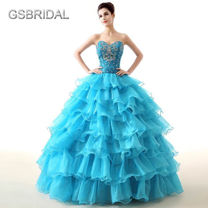 GSBRIDAL Blue Off the Shoulder Sweetheart Ruffle Skirt Beading Prom Dress ...