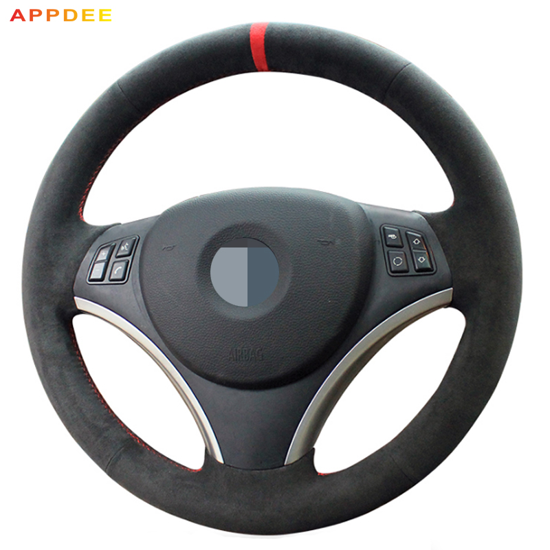 APPDEE Hand-Stitched Suede <font><b>Car</b></font> Steering <font><b>Wheel</b></font> Cover for BMW E90 325i 330i 335i (No <font><b>Drum</b></font> kits ) New material image