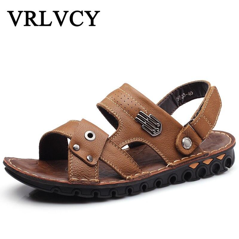 Mens Shoes Mans Leather Slip Sandals Mans Comfort Sandals Summer Mens Shoes 2018 Trendy models