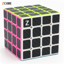 4x4x4 Zcube Carbon Fiber Sticker Magic Cube Puzzle Cubes Speed Cubo Square Puzzle Gifts Educational Toys for Children недорого