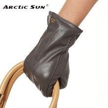 Brand Genuine Leather Gloves High Quality Women Sheepskin Glove Fashion Trend Winter Warm Driving Leather Gloves EL023NR