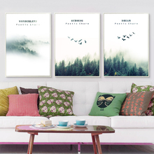Nordic Decorated Cloud Woods Landscape Canvas Painting Art Typographic Poster Picture Bedroom Living Room Decoration OT245
