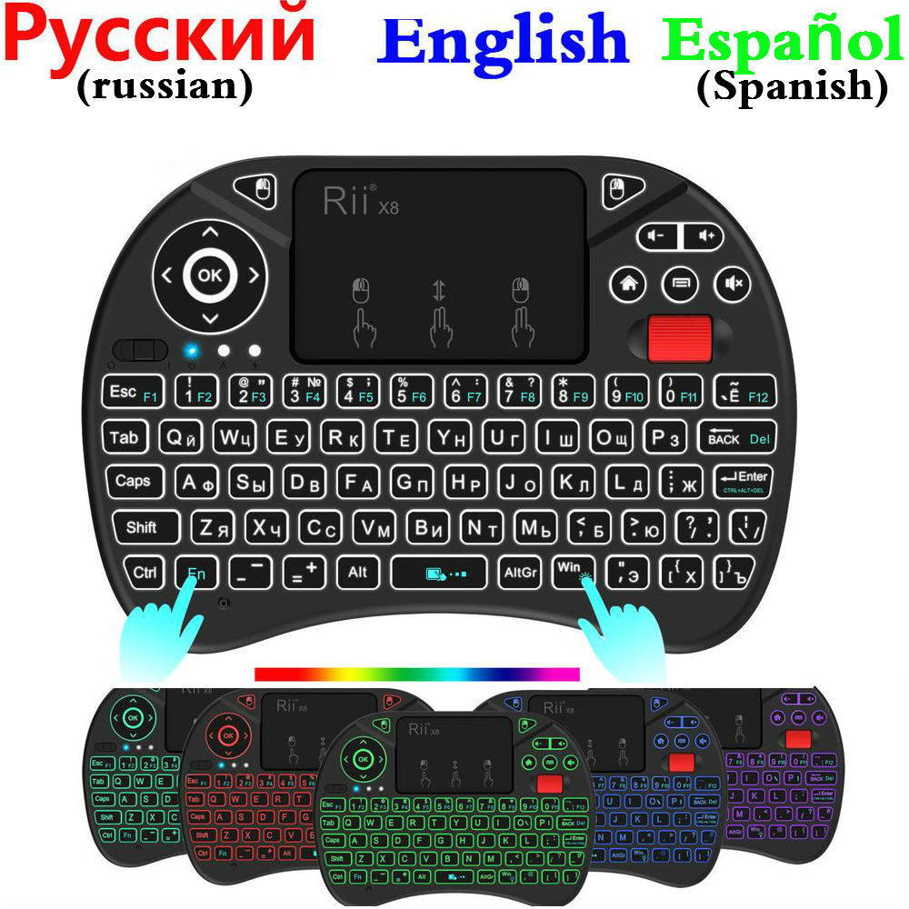 Original Rii X8 Backlight 2.4G Wireless Fly Air Mouse RGB I8 I8X Backlit Keyboard Russian English Spanish Handheld Touchpad