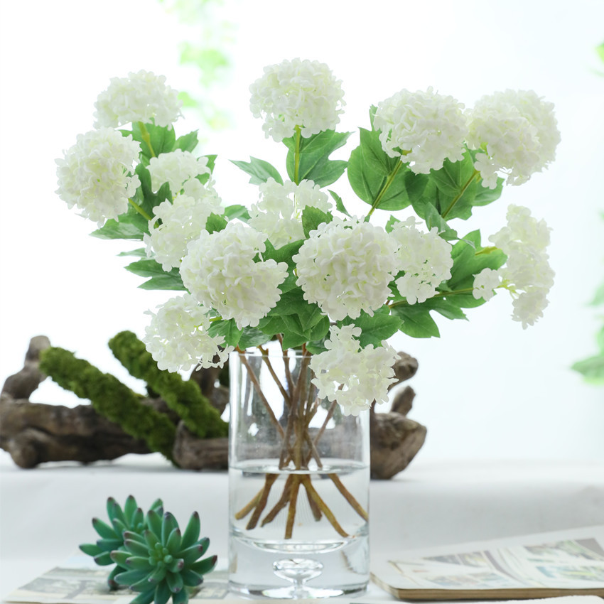 2heads Artificial Hydrangea Ball Flowers White Snowball Flores Home