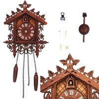 Vintage Hanging Wall Clock Handcraft Wooden Clock Fashion Cuckoo Clock for Living Room Home Decoration
