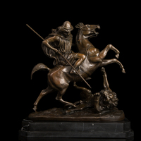 Arts Crafts Copper Top Quality Bronze Sculpture Roman warriors statues metal art decor bronze statue souvenirs DRAGON SLAYER pet