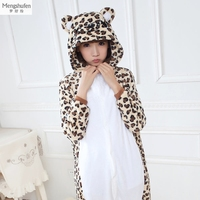 Cartoon Pijama Cosplay Leopard Grain Bear Couple Pajama Sets Flannel Warm Animal Pajamas One Piece For Adults Onesie