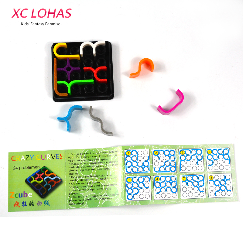 24 Levels Logical Reasoning Spatial Thinking Puzzle creative Crazy Curves Brain Teaser Logic Game Funny Educational Toys